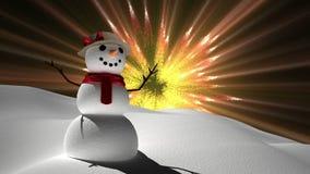 Снеговик с волшебными светами акции видеоматериалы