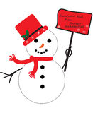 Снеговик с знаком Стоковые Изображения RF