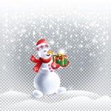 Снеговик с ландшафтом снега рождества подарков иллюстрация штока