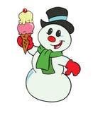 Снеговик с мороженным Иллюстрация вектора