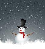 Снеговик с предпосылкой снежка иллюстрация вектора