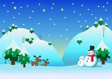 Снеговик с предпосылкой темы снега Стоковое фото RF