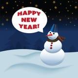 Снеговик с счастливым текстом Нового Года Стоковые Изображения