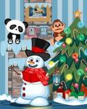 Снеговик с фонариком и носить шляпу, красный свитер и красный шарф с рождественской елкой и огнем устанавливают иллюстрацию иллюстрация вектора