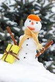 Снеговик с шарфом и tangerine слезают, подарок для рождества, предпосылки снега покрытого хвойным деревом Стоковое Изображение RF