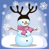 Снеговик с antlers иллюстрация штока