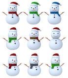 Снеговик установленное 3D Стоковые Изображения