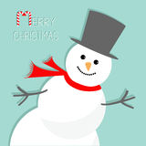 Снеговик шаржа в угле background card congratulation invitation Дизайн с Рождеством Христовым рождественской открытки плоский Стоковое Фото
