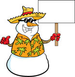 Снеговик шаржа нося соломенную шляпу и держа знак Стоковое Изображение