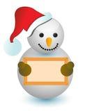 Снеговик держа деревянный знак Стоковые Изображения