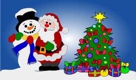 снеговик santa клаузулы иллюстрация штока
