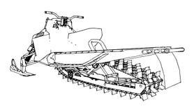 Снегоход Иллюстрация вектора в ручной работы стиле Типы оборудования от различных сторон Стоковые Изображения