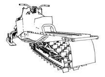 Снегоход Иллюстрация вектора в ручной работы стиле Типы оборудования от различных сторон Стоковая Фотография