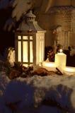 Снег ангела света горящей свечи рождества Стоковое Изображение