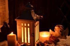 Снег ангела света горящей свечи рождества Стоковые Изображения