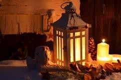 Снег ангела света горящей свечи рождества Стоковые Фото