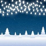 Снег вектора падая на голубую предпосылку гирлянды Стоковое Фото