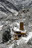 Снег весны тибетской деревни Стоковые Изображения RF