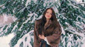 Снег встряхивания женщины брюнет от замедленного движения ветвей сосны зимы акции видеоматериалы
