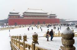 Снег в пейзаже запретного города Стоковая Фотография