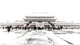 Снег в пейзаже запретного города Стоковое Изображение