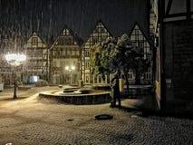 Снег в Rinteln Германии Стоковое фото RF