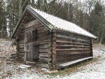 Снег дня старого дома деревянный Стоковое Изображение