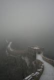 Снег зимы на Великой Китайской Стене Стоковое Фото