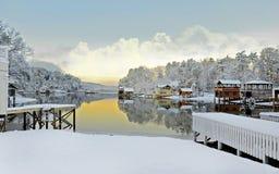 Снег зимы на озере Стоковое Изображение RF