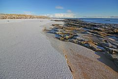 Снег зимы на пляже Dornoch Стоковые Фотографии RF