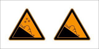 Снег зимы покрыл горы и знак предупреждения установленный опасности лавины изолированные на белой предпосылке Лавины знака опасно иллюстрация штока