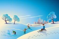 Снег зимы прогулки детей Бесплатная Иллюстрация