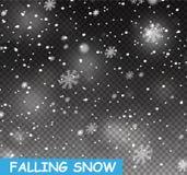 Снег иллюстрации запаса падая Снежинки, снежности предпосылка прозрачная Падение снега иллюстрация штока
