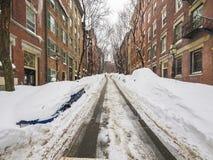 Снег и автостоянка в Бостоне Стоковое Изображение RF