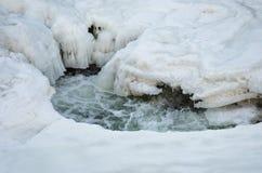 Снег и лед плавя на реке Стоковое фото RF