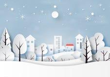 Снег и сезон зимы с ландшафтом природы и сельская местность для веселого рождества и счастливого стиля искусства бумаги Нового Го бесплатная иллюстрация