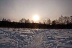 Снег и солнце Chrismas Стоковая Фотография RF