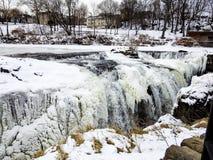 Снег, лед и вода на падениях Paterson, Нью-Джерси Стоковая Фотография RF