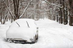 Снег на автомобилях в парке после снежностей Сцена зимы городская стоковые фото