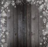 Снег на старой деревянной предпосылке Стоковые Фото