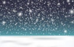 Снег на темной предпосылке Снег приходит, малые снежинки в воздухе Крышка снега земли Стоковые Фото