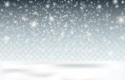 Снег на темной предпосылке Снег приходит, малые снежинки в воздухе Крышка снега земли Стоковые Изображения