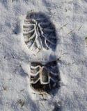 Снег ноги печати стоковая фотография rf