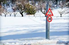 Снег дорожного знака опасности Стоковая Фотография
