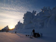 Снег острова Солнця пейзажа Харбин Стоковые Изображения