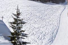 Снег отмеченный лыжами в следе Стоковые Изображения RF