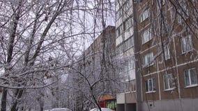 Снег падает видеоматериал