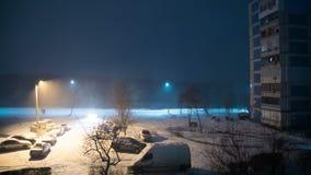 Снег падает в улицу на фоне фонарного столба на ноче Промежуток времени сток-видео