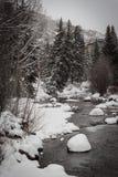 Снег покрыл реку бежать в Vail, Колорадо стоковая фотография