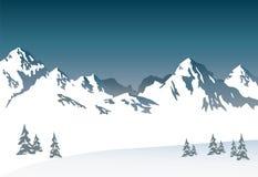 Снег-покрытые горы - предпосылка Стоковое Изображение